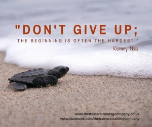 Don't give up; the beginning is often the hardest quote