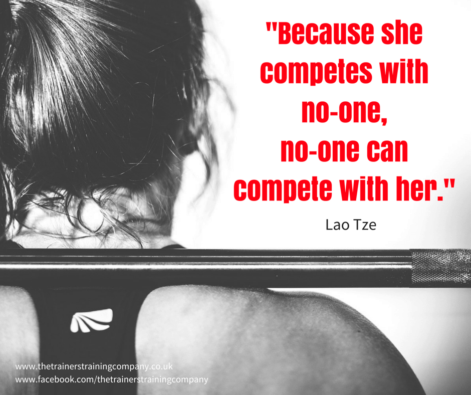 Because she competes with no-one, no-one can compete with her.