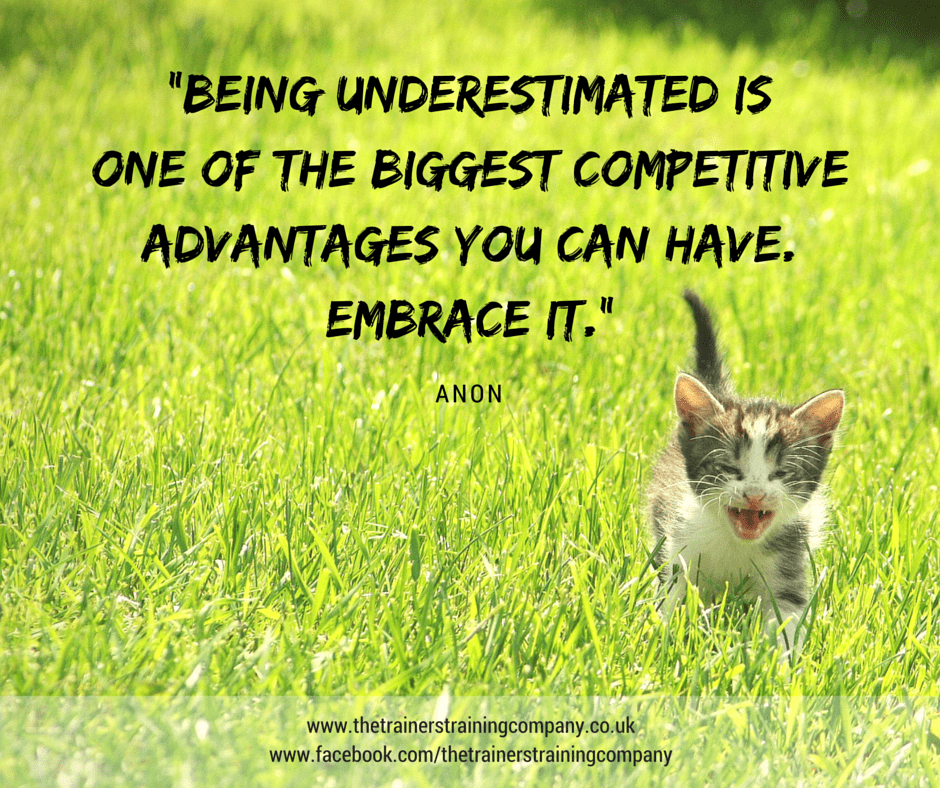 Being underestimated is one of the biggest competitive advantages you can have. Embrace it.