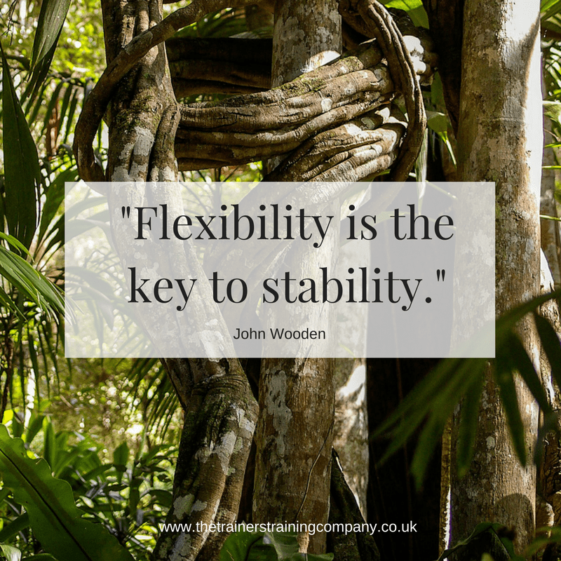 Flexibility is the key to stability. Quote by John Wooden
