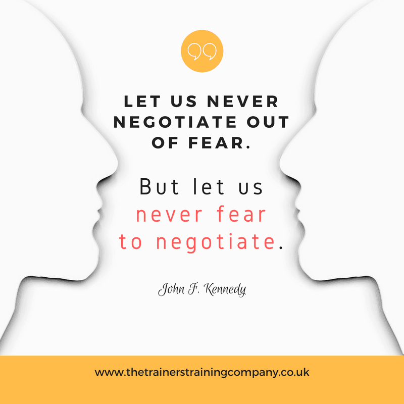 """Let us never negotiate out of fear. But never fear to negotiate."" Quote by John F Kennedy"