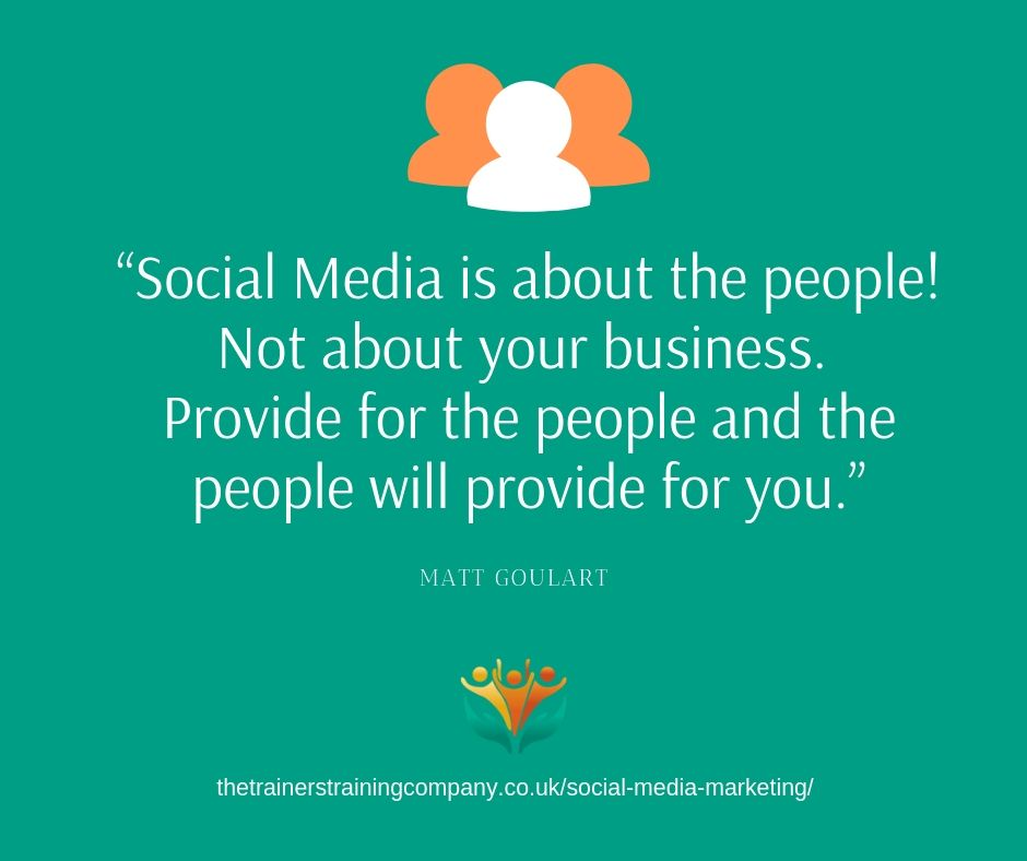Social media is about the people, not about your business. Quote by Matt Goulart